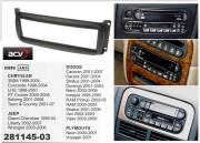 Переходная рамка ACV 281145-03 для Chrysler Neon, Sebring, 300 M / Jeep Wrangler, Grand Cherokee / Dodge RAM, 1DIN