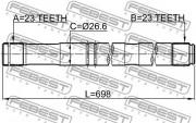 Приводной вал (полуось) FEBEST 0112-ZZT251RH