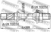 Приводной вал (полуось) FEBEST 0512-6GG