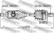Приводной вал (полуось) FEBEST 1614-221FRH