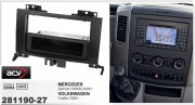 Переходная рамка ACV 281190-27 для Mercedes Sprinter (W906) 2006+, Volkswagen Crafter 2006+, 2DIN / 1DIN
