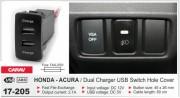 USB разъем (интерфейс) Carav 17-205 в штатную заглушку для автомобилей Honda / Acura
