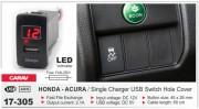 USB разъем (интерфейс) с цифровым вольтметром Carav 17-305 в штатную заглушку для автомобилей Honda / Acura