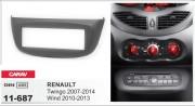 Переходная рамка Carav 11-687 для Renault Wind 2010-2013, Twingo 2007-2014, 1 DIN