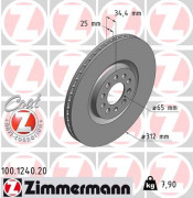 Тормозной диск ZIMMERMANN 100.1240.20
