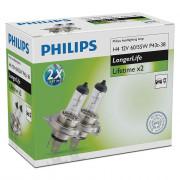 Комплект галогенных ламп Philips LongerLife 12342ELC2 (H4)