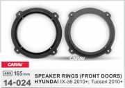 Комплект подиумов / проставок для динамиков Carav 14-024 в передние двери Hyundai ix35, Tucson 2010+