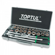 Набор инструмента 1/2'' с торцевыми 6-гранными метрическими и дюймовыми головками Toptul GCAD4303 (43шт)