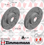 Тормозной диск ZIMMERMANN 100.3300.53