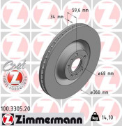 Гальмівний диск ZIMMERMANN 100.3305.20