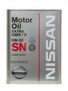 Оригинальное моторное масло Nissan Extra Save X SN 0w20 KLAN8-00204