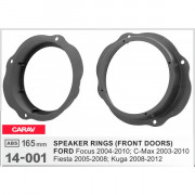 Комплект подиумов / проставок для динамиков Carav 14-001 в двери Ford Focus 2004-2010, C-Max 2003-2010, Fiesta 2005-2008, Kuga 2008-2012