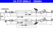Трос стояночного (ручного) тормоза ATE 24.3727-0664.2