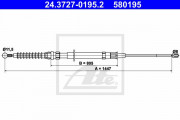 Трос стояночного (ручного) тормоза ATE 24.3727-0195.2