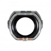 Маска для биксеноновых линз BMW F-Style black с ангельскими глазками (DRL + габарит)